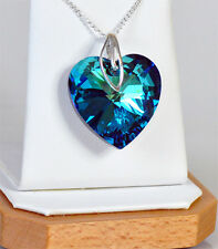*HEART* 28 mm! 6 COLORS Pendant with Chain  - Silver 925 -  SWAROVSKI ELEMENTS