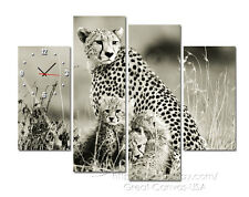 Cheetah With Cubs Wall Art Canvas Set Of 4 Size 3 Sz FRAMED Choice Of Clock