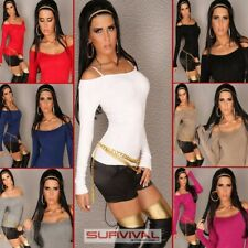 NEW SEXY WOMENS LADIES SIZE 8-10-12 HOT CLUB WEAR CASUAL JUMPER TOP LONGSLEEVE