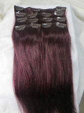 """15""""-22"""" Remy Straight Human Hair Clips In Extensions 7Pcs 70g #99J Darkest Red"""