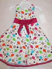 BNWT GIRLS COTTON FLORAL DRESS - SIZE 2 TO 7