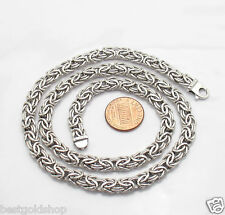 "7mm Genuine 14K WHITE GOLD Polished Byzantine Chain Necklace 18"" 20"""