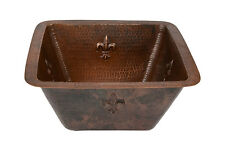 """Premier Copper Products 15"""" Square Hammered Copper Bar/Prep Sink - 2"""" Drain Size"""
