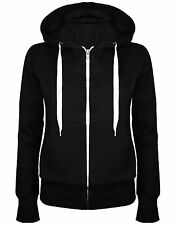 WOMENS LADIES APPAREL PLAIN HOODY JACKET HOODED TOP SWEAT SHIRT 18 20 22 24 26