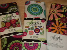 """Crafty Cuts by Springs Creative 100% Cotton Fabric 2 YARDS 43"""" Wide FLOWERS"""