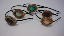 ~* STYLISH HAND MADE GOLD TRIM HEAD HAIR BAND ACCESSORIES GREEN PINK PURPLE *~