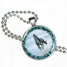 """Horse Play At Oceans Edge on Crystal Pendant w/ 24"""" Matchng Ball Chain"""