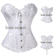 White Floral Brocade Pinup CORSET Bustier Size S-6XL shapewear BC A063_white