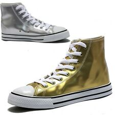 Womens Gold Silver Shiny Solid High Top Sneakers US5~11 / Glam Hi Top Trainers