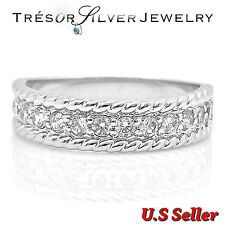 womens cz sterling silver wedding engagement band ring size 5 6 7 8 9