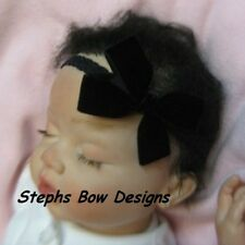 "3"" BLACK VELVET DAINTY HAIR BOW LACE HEADBAND CLIP CHRISTMAS INFANT NEWBORN BABY"