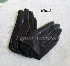 Women's Chic Half hand Palm Lamb Skin Genuine Leather Driving Evening Gloves