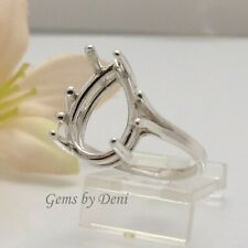 (7x5-20x15mm) Pear Wire Mount Sterling Silver Pre-Notched Ring Setting Size 5-9