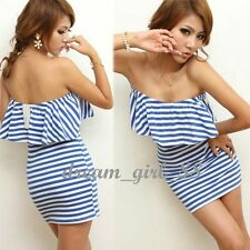 Sexy Womens Casual Strapless Striped Mini Cocktail Evening Party Evening Dress