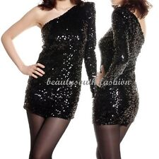Stylish Womens Overall Shiny Sequins One Shoulder Black Mini Dress Sexy Cocktail