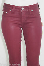 NWT TRUE RELIGION Women's Red Coated Halle Stretch Skinny Legging Jeans Pants