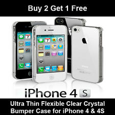 NEW STYLISH ULTRA THIN CRYSTAL CLEAR CASE COVER FOR APPLE IPHONE 4 4S BUY 2 GET3