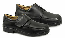 Roamers Mens Velcro/Lace-Up TRIPLE-Extra Wide Fit Comfort Leather Shoes Black