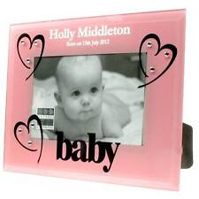 Laser Engraved  Born On 1st birthday pink frame for her