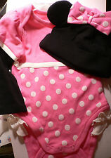 MiNNie MoUSe~CuDDlY~PiNk~BODYSUIT+CAP~NWT~0-24M~2yrs~Costume~Disney Store~Junior