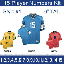 "15 Player Numbers Team KIT 6"" Tall Iron-On for Sports Jersey or T-Shirt Style #1"