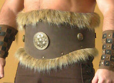 Medieval Celt Viking Barbarian Leather Belt Armor with Fur