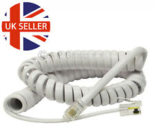 PREMIUM Telephone Spiral Phone Wire Curly Cord 2m 3m 5m for Handset BT etc WHITE