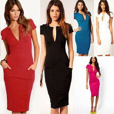 Long Sleeve Shift Dress on Sexy Womens Deep V Neck Bodycon Business Slim Party Pencil Dress N521