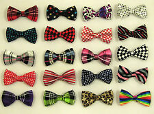 MEN'S/BOY'S SHINY SATIN FINISH PRE-TIED PATTERNED FASHION BOW TIES