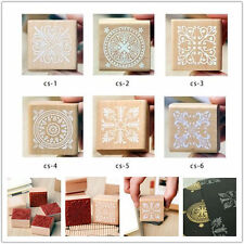 New 6 Model Square wooden retro Romantic Lace pattern stamp