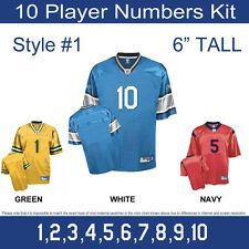 "10 Player Numbers Team KIT 6"" Tall Iron-On for Sports Jersey or T-Shirt Style #1"