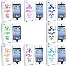 iPod Touch 4th Generation White 2 Piece Hard Case Cover Keep Calm Play On Soccer