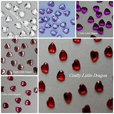 100 x 8mm Heart Diamante Gems NOT Stick On Self Adhesive LOOSE Clear Pink Red