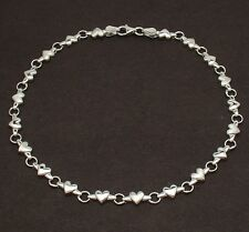 Solid Shiny & Satin Heart Link Charm Anklet Ankle Bracelet REAL 14K White Gold
