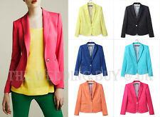 6 Colours Ladies Women Suit Blazer Jacket Coat Foldable Sleeves Neon Candy WS001