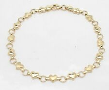 """Heart Link Charm Bracelet Real 14K Yellow Gold ALL SIZES from 6"""" to 8 1/2"""""""
