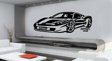 PERSONALISED FERRARI 458 CAR  VINYL WALL STICKERS BOYS NAME