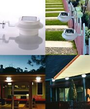2×Solar Gutter Light Fence Lamp Water Resistant Switch 3LEDs (White/Warm White)