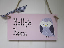 OWL PERSONALISED NAME GIRLS BOYS BABY BEDROOM NURSERY DOOR SIGN PLAQUE
