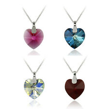 925 Silver Swarovski Elements Heart Necklace - 4 Colors