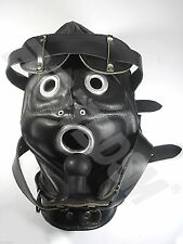 Black Hood Gimp Mask - GENUINE LEATHER w LOCKING BUCKLES and SILICONE GAG