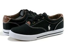 Polo Ralph Lauren Boy's Fashion Sneaker Vaughn Black Canvas Shoes