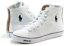 Polo Ralph Lauren Boy's Fashion Sneaker Cantor Mid White Canvas Shoes