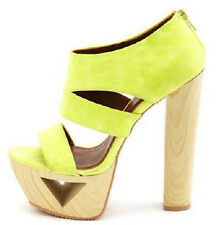 Qupid Lakie-16 Neon Lime Cut-Out Wood Thick Heel Sandal Bootie High Heels