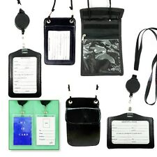 ID Card Holder Badge Reel Retractable W/ Neck Strap Black, Color,Leather,Plastic