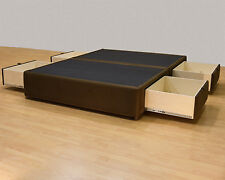 Queen Platform Bed with Storage Drawers Uphostered Storage Bed Frame Microfiber