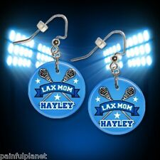 "**LAX MOM** Lacrosse Personalized Custom Name 1"" Dangle Earrings *FREE PIN* USA"