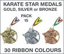 PACK OF 15 (£1.30 each) Karate Star Medals & Ribbon 60mm Metal Ref: SM21-MR1