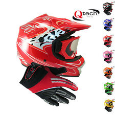 Kids Childrens MOTOCROSS Quad Crash HELMET Goggles & Gloves Pit BIke Off Road