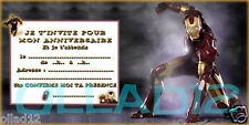6 CARTES INVITATION ANNIVERSAIRE AVENGERS MARVEL  IRON MAN - AVENGERS